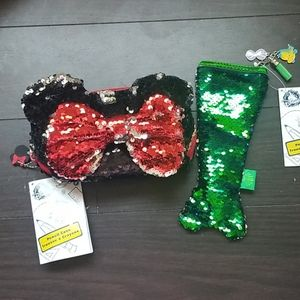 Minnie mouse and Ariel sequins pencil case